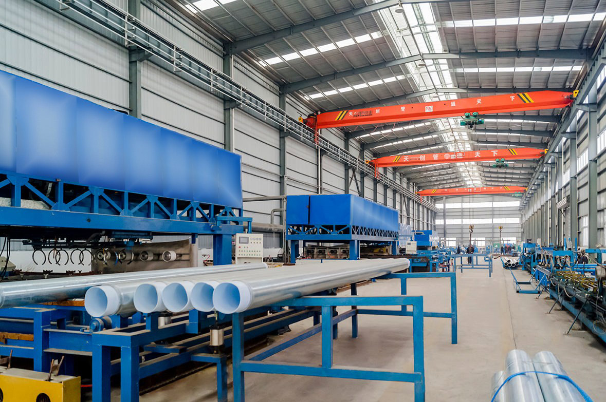 Steel-plastic composite pipe production work